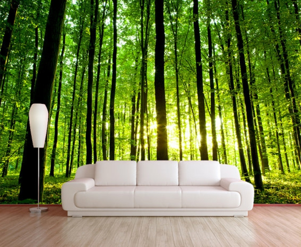 tapeten-farben-ideen-weißes-sofa-und-super-schöne-wand-in-grün