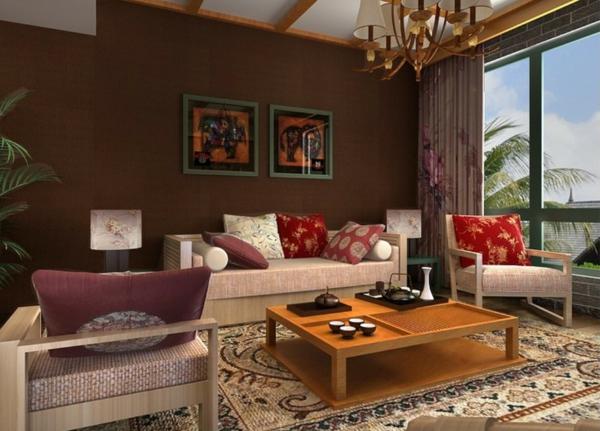 tapeten-farben-ideen-wohnzimmer-in-braun-und-mit-gläsernen-wänden