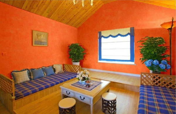 tapeten-farben-ideen-wohnzimmer-in-orange-gestalten