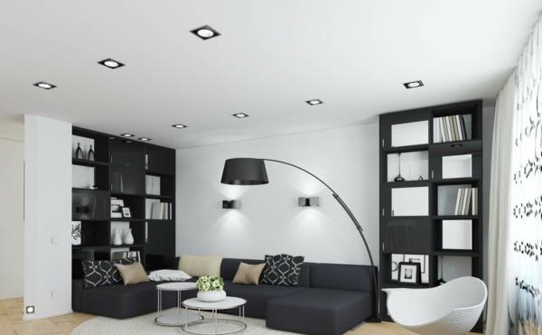 tapeten-farben-ideen-wohnzimmer-in-weiß-und-schwarz