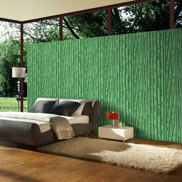 tapeten-farben-ideen-wunderschöne-grüne-wand-schönes-bett