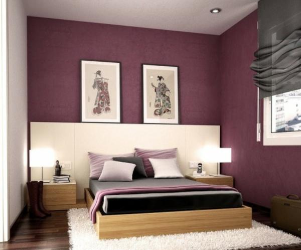 tapeten-farben-ideen-zwei-bilder-an-der-lila-wand