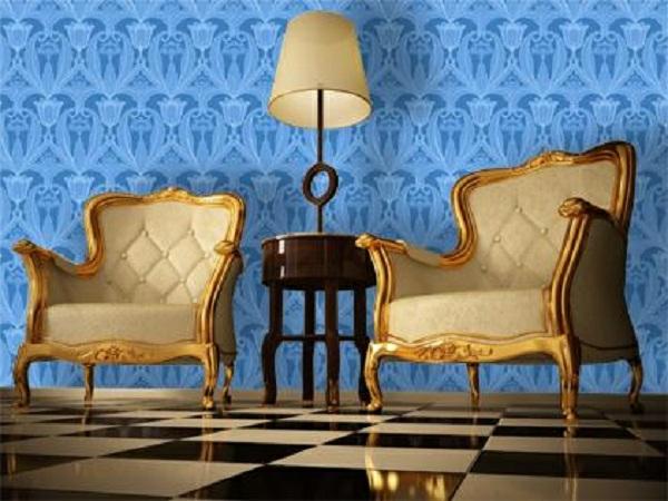 tapeten-farben-ideen-zwei-schöne-sessel- und-blaue-tapeten