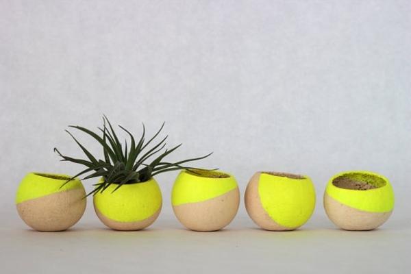 tolle-Dekoration-mit-frischen-neon-Farben-Blumentöpfe