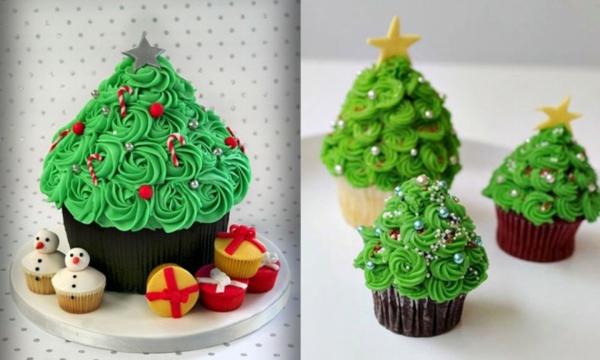 tolle-Ideen-für-Weihnachtscupcakes-mit-Weihnachtsbäumen