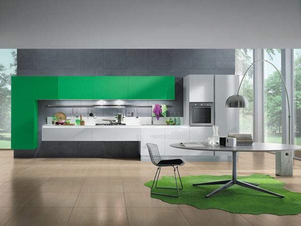 tolle-Küchengestaltung-moderne-Wohnung-in-Grün-attraktive-Idee