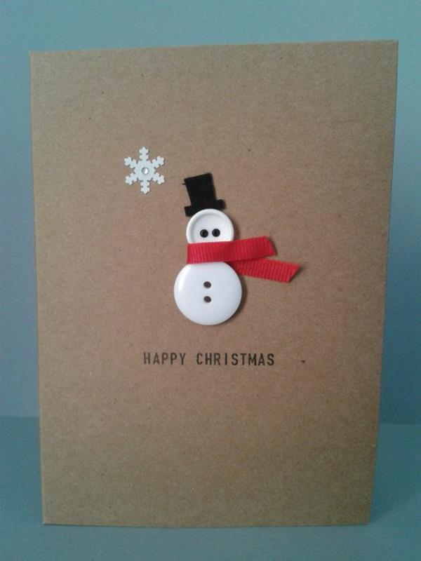 tolle-Weihnachtskarten-selber-gestalten-kleiner-Schneemann-