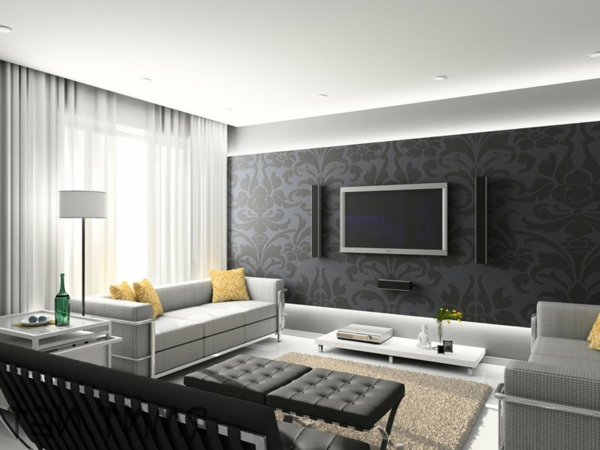 startling wohnzimmer schwarz wohnzimmer-grau-schwarz-braun-wand ... - Wohnzimmer Grau Schwarz Braun