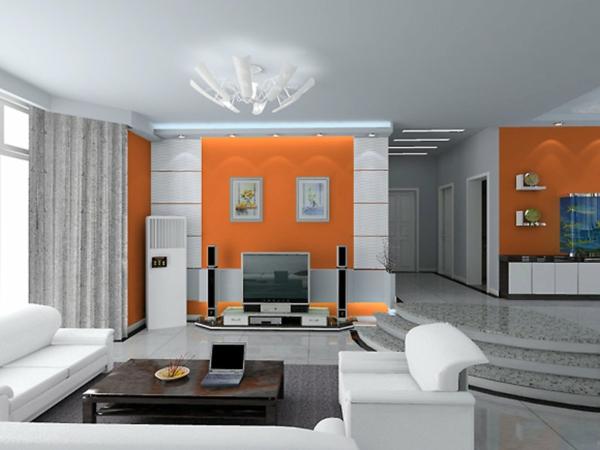 tolles-Design-für-das-Wohnzimmer-Wände-in-Orange