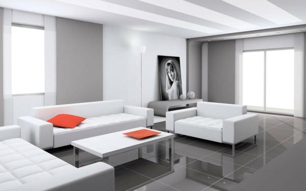 tolles-Design-für-das-Wohnzimmer-Weiß-Grau-Kissen-in-Orange