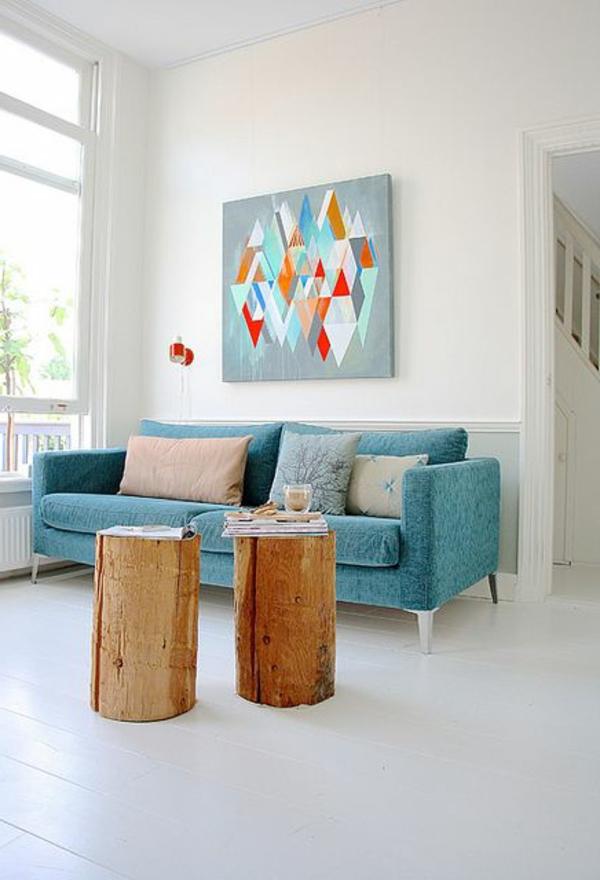 Tolles Design Fr Das Wohnzimmer Blaues Sofa