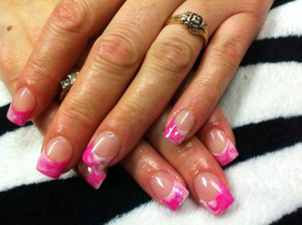 nageldesign bilder für hochzeit - sehr cooles modell in pink