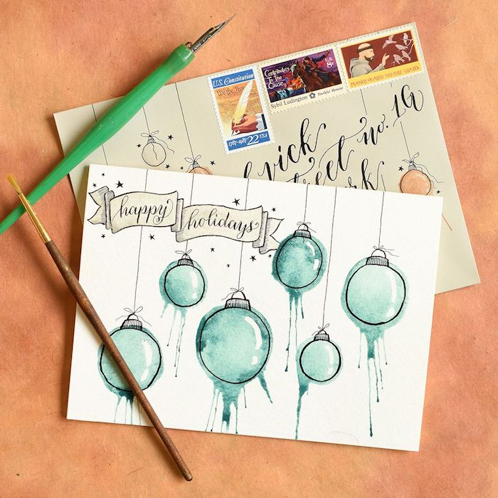 DIY Weihnachtskarten, Christbaumkugel mit Aquarellfarben malen, Anleitung für die Technik
