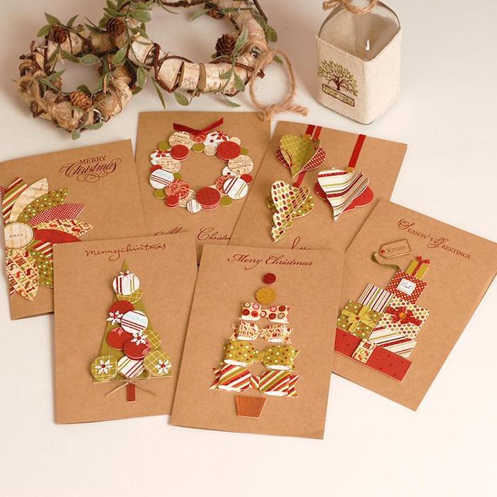 Weihnachtskarten selber basteln, kleine Elemente aus Karton kleben, Weihnachtsbaum Kranz und Christbaumschmuck