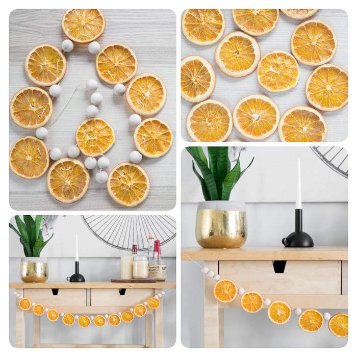Weihnachtsgirlande aus getrockneten Orangenscheiben und kleinen Holzperlen selber machen