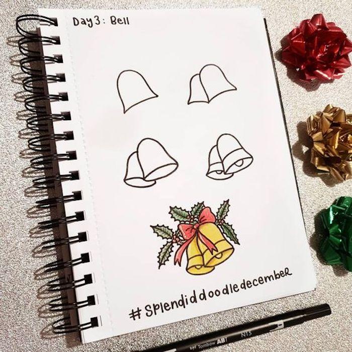 Glocken malen Schritt für Schritt, Anleitung für Anfänger, Weihnachtsbilder zum Nachmalen
