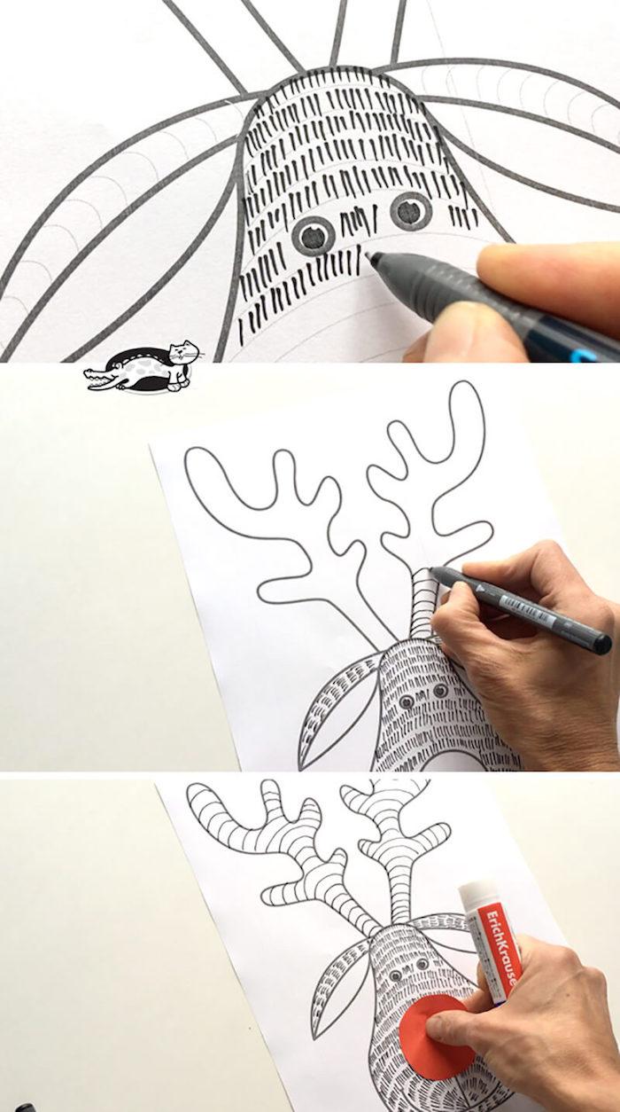 Rentier malen mit Kindern, roten Kreis für Nase kleben, Weihnachtsbilder zum Nachzeichnen