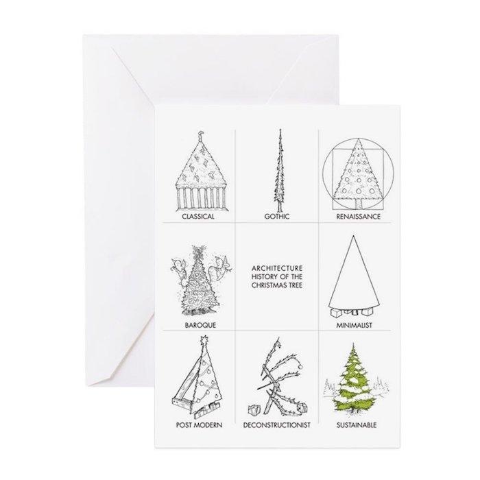 Lustige DIY Weihnachtskarte, Weihnachtsbaum malen in verschiedenen Stilrichtungen