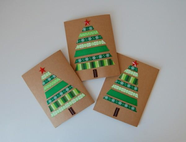 weihnachtskarten-basteln-interessante-modelle-mit-tannenbäumen