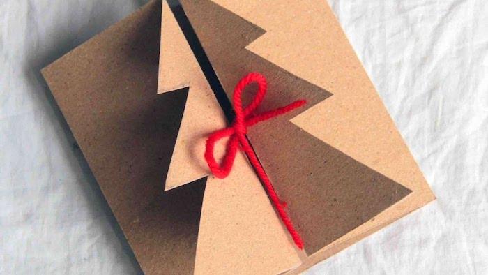 Weihnachtskarten basteln mit Kindern, Pop Up Karte mit Weihnachtsbaum