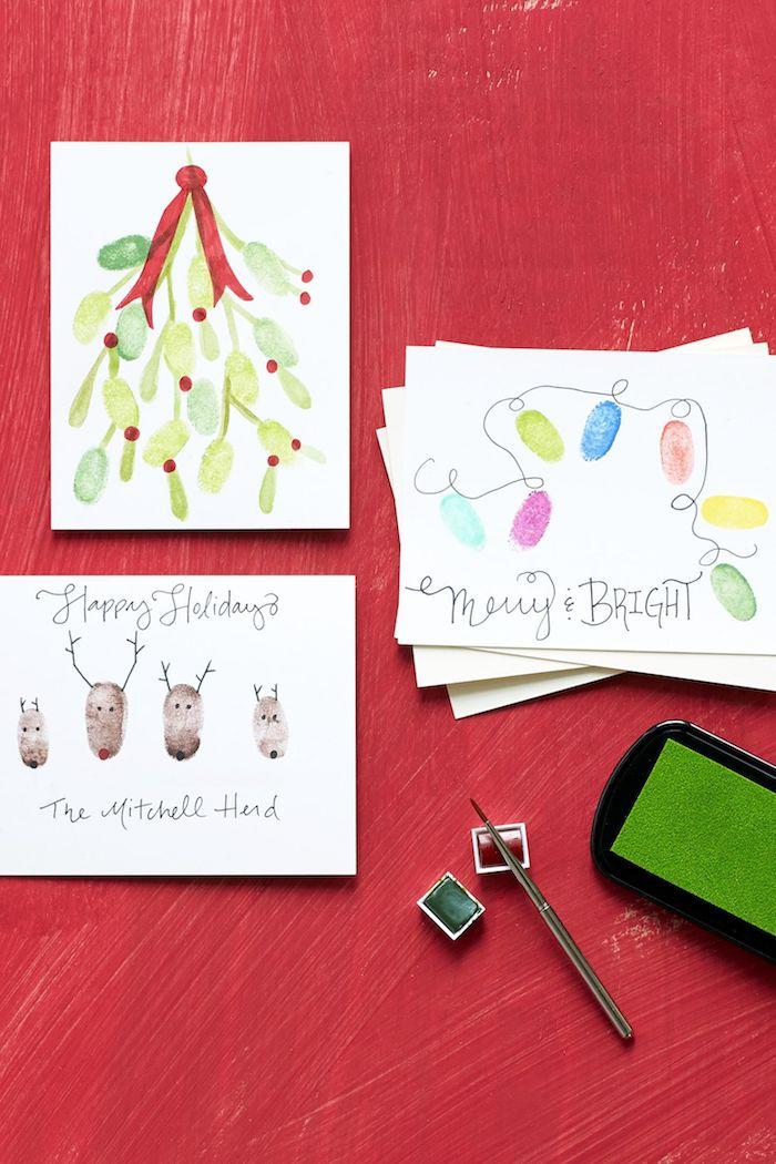 DIY Weihnachtskarten mit Fingerabdrücken, bunte Lichterkette, Rentiere und Mistel