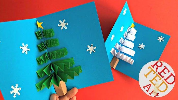 Pop Up Weihnachtskarte mit Tannenbaum selber machen, Weihnachtsbasteln mit Kindern
