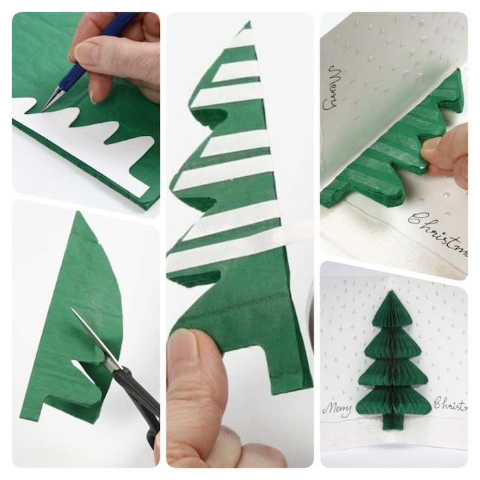 Pop Up Karte mit Tannenbaum selber machen, Anleitung in fünf einfachen Schritten