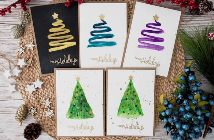 Selbstgemachte Weihnachtskarten, Weihnachtsbaum einfach und schnell malen