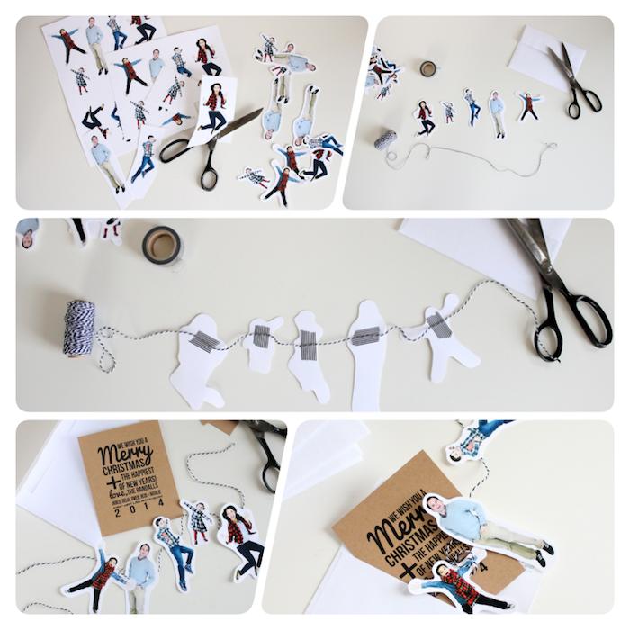 Personalisierte Weihnachtskarten selber machen, Fotos ausschneiden, kleine Girlande mit Faden und Klebeband basteln