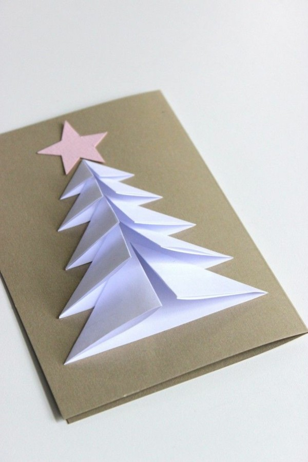 weihnachtskarten-basteln-schöne-weiße-gestaltung-mit-tannenbaum-aus-papier