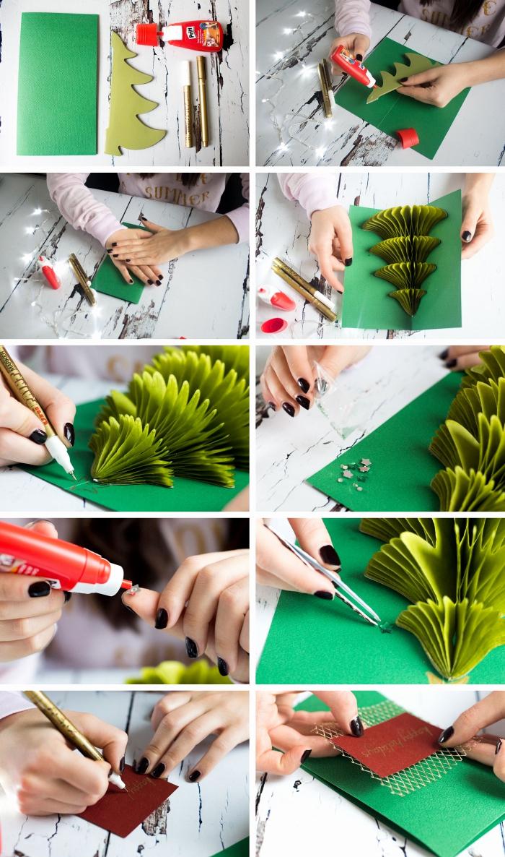 Pop Up Karte mit Tannenbaum selber machen, Anleitung in 10 Schritten, grünes Tonkarton und Papier, Stifte und Bastelkleber
