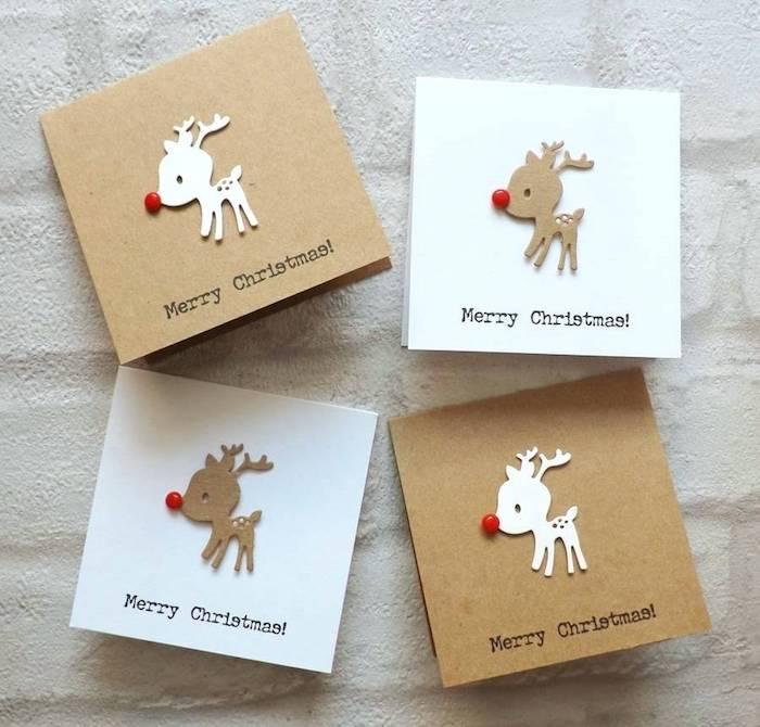 DIY süße Weihnachtskarten, kleine Rentiere aus Karton schneiden, rote Perlen für Nasen kleben