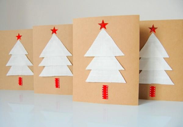 weihnachtskarten-gestalten-schöne-weiße-tannenbäume