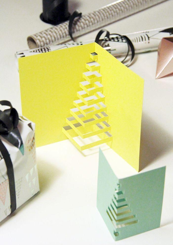 Pop Up Karte mit Weihnachtsbaum selber machen, schnelle Ideen für schöne DIY Weihnachtskarten