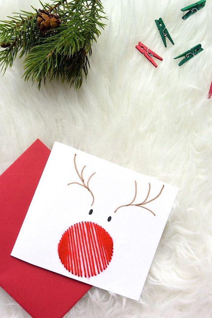 Rentier mit roter Nase aus Faden, Weihnachtskarten basteln mit Kindern