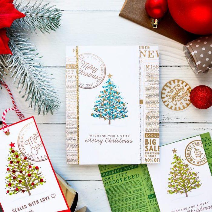 DIY Weihnachtskarten aus Zeitungspapier, Weihnachtsbäume mit Aquarellfarben malen
