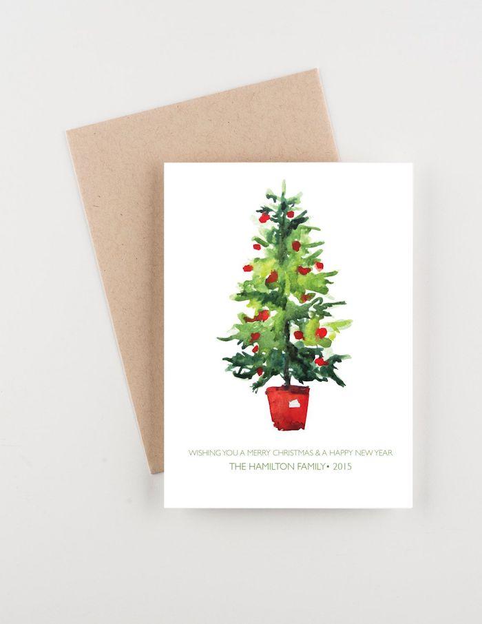 Weihnachtsbaum malen mit Aquarellfarben, schöne Weihnachtsbilder zum Nachmalen