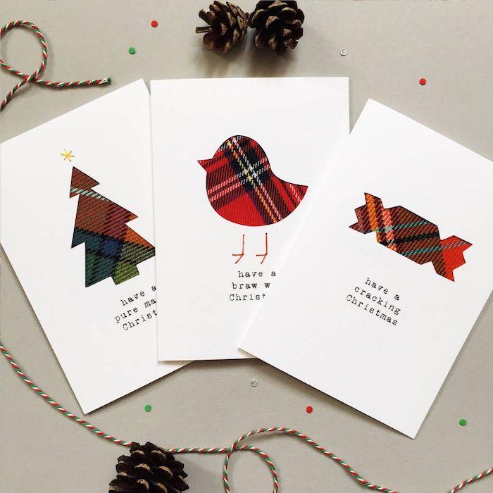 Weihnachtskarten selber machen, mit Weihnachtsbaum, Bonbon und Vögelchen