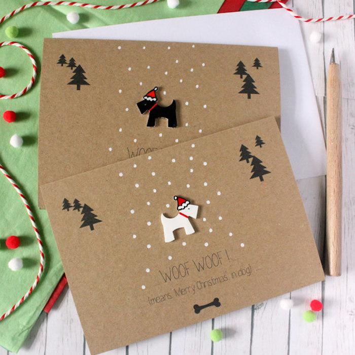 Süße Weihnachtskarten selber basteln mit kleinen Hunden und Weihnachtsbäumen