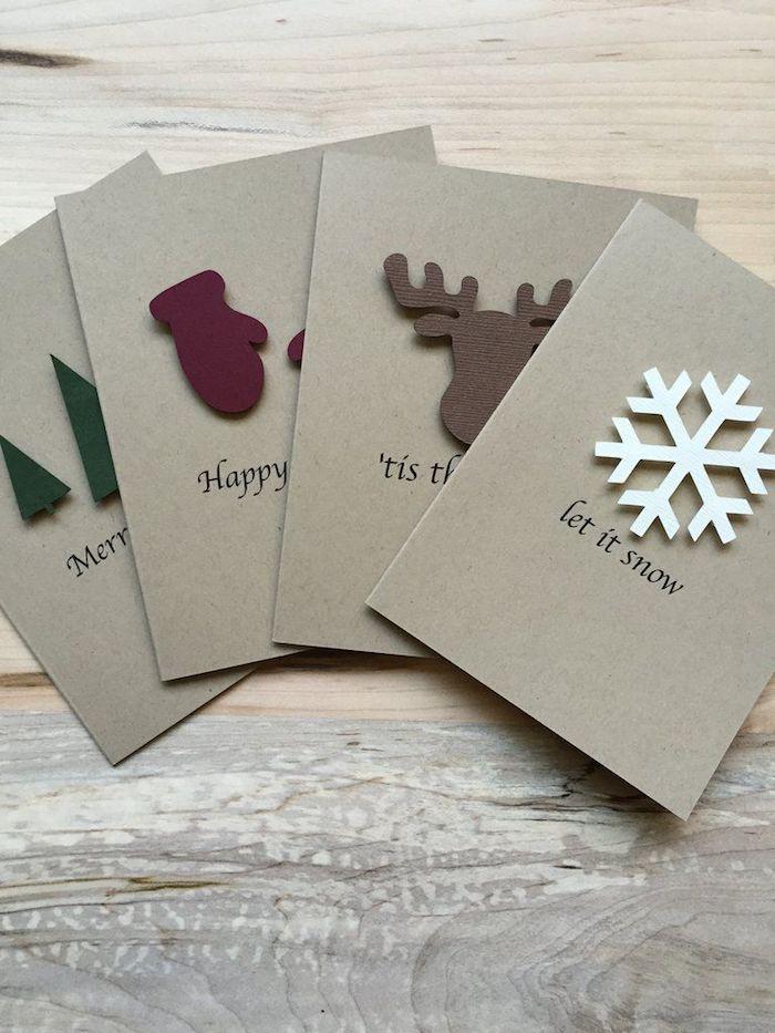 Weihnachtskarten mit verschiedenen Weihnachtsmotiven basteln, Schneeflocke Rentier Handschuhe und Christbäumchen