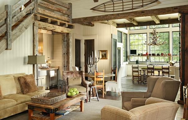 gemütliches rustikales wohnzimmer mit beige möbeln
