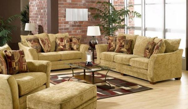 wohnzimmer-rustikal-beige-möbel