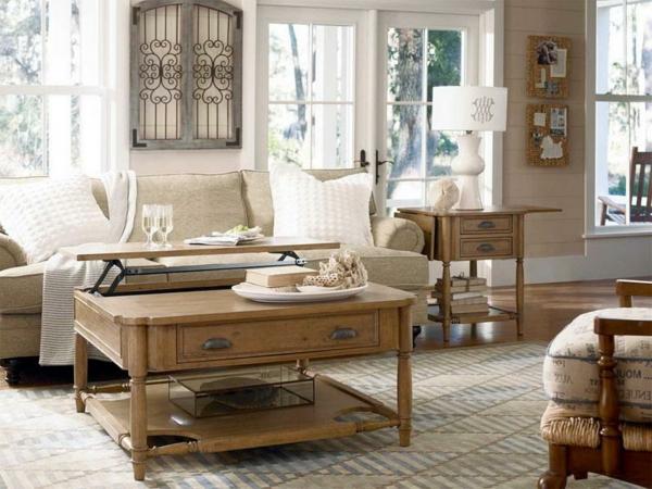 wohnzimmer-rustikal-hölzerner-tisch