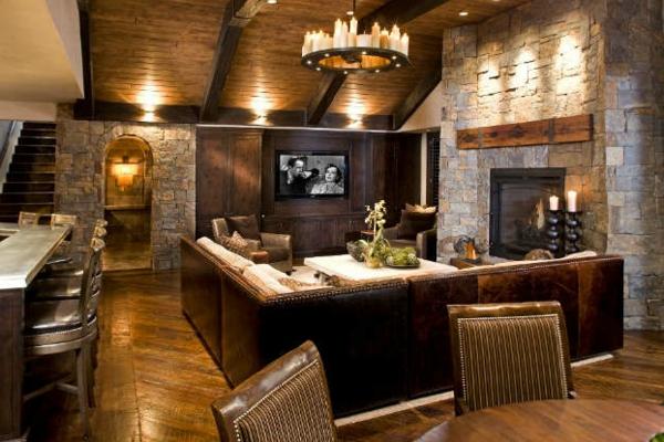 Wohnzimmer Rustikal Mit Romantischer Beleuchtung