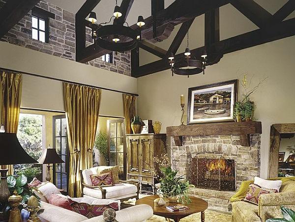 wohnzimmer-rustikal-schöne-gardinen