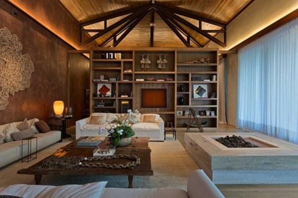wohnzimmer-rustikal-viele-bücherregale