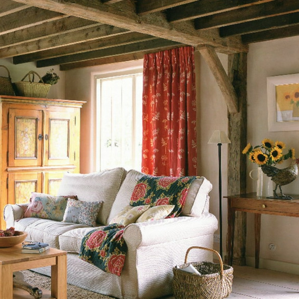 Wohnzimmer Rustikal Weisses Sofa
