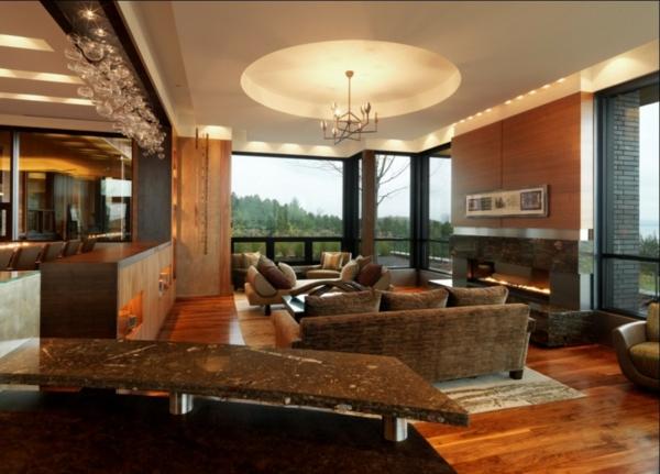 Helles und frisch aussehendes Wohnzimmer rustikal einrichten