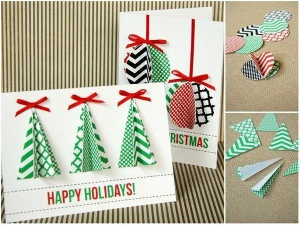 sch ne weihnachtskarten selber basteln mehr als 100 ideen. Black Bedroom Furniture Sets. Home Design Ideas