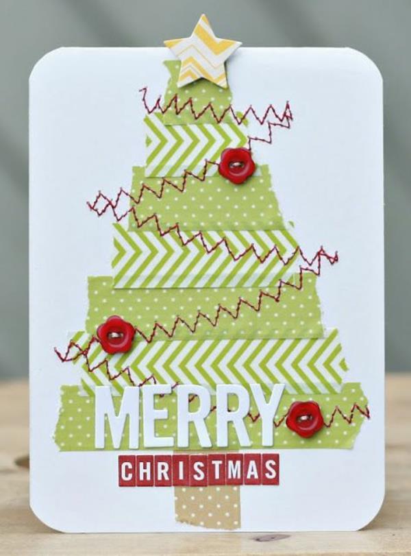 wunderbare-Weihnachtskarten-selber-basteln-mit-Tannenbaum